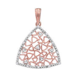 10kt Two-tone Gold Womens Round Diamond Triangle Pendant 1/20 Cttw