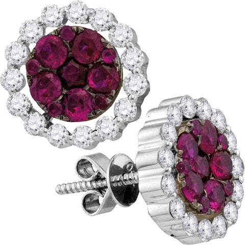 18kt White Gold Womens Round Ruby Diamond Convertible Dangle Earrings 2-1/4 Cttw