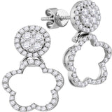 18kt White Gold Womens Round Diamond Convertible Dangle Earrings 3/4 Cttw