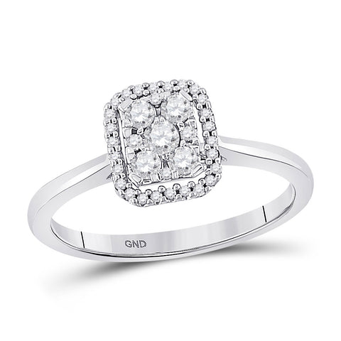 10kt White Gold Womens Round Diamond Square Cluster Ring 1/3 Cttw