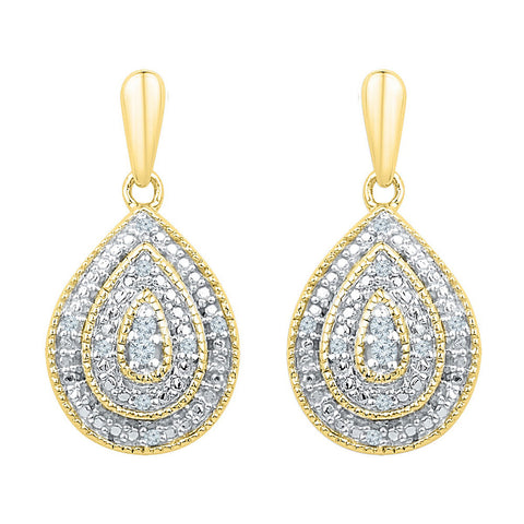 10kt Yellow Gold Womens Round Diamond Milgrain Teardrop Dangle Earrings 1/10 Cttw