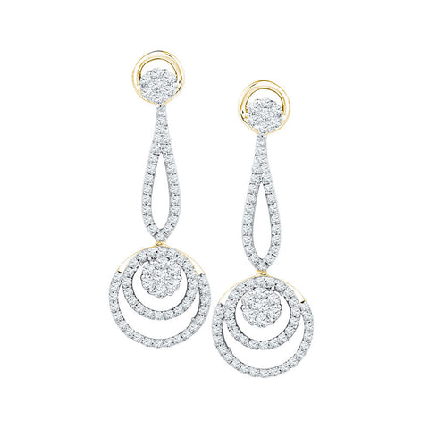 10kt Yellow Gold Womens Round Diamond Circle Cluster Dangle Earrings 1 Cttw