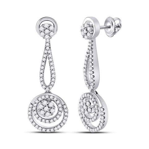 10kt White Gold Womens Round Diamond Circle Cluster Dangle Earrings 1 Cttw