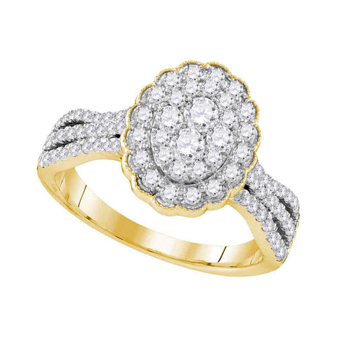 10kt Yellow Gold Womens Round Diamond Oval Flower Cluster Ring 1 Cttw