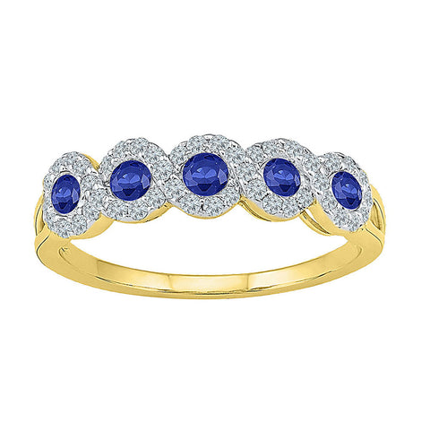 10kt Yellow Gold Womens Round Lab-Created Blue Sapphire Band Ring 1/2 Cttw