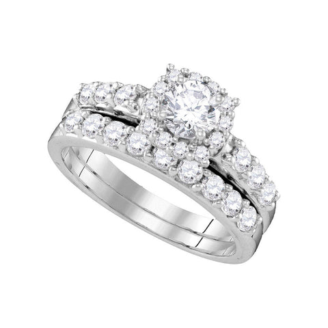 14k White Gold Round Diamond Halo Bridal Wedding Ring Band Set 1-1/2 Cttw
