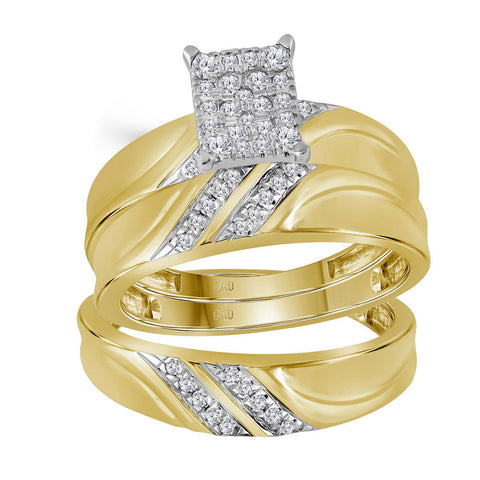 10k Yellow Gold Diamond Cluster Matching Trio His Hers Wedding Ring Band Set 1/3 Cttw