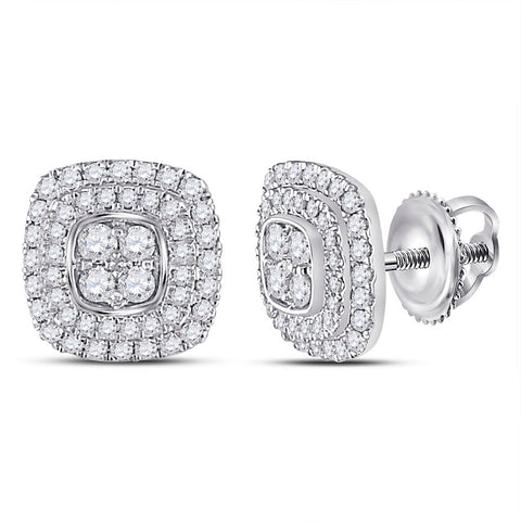 14kt White Gold Womens Round Diamond Cushion Cluster Earrings 1/2 Cttw