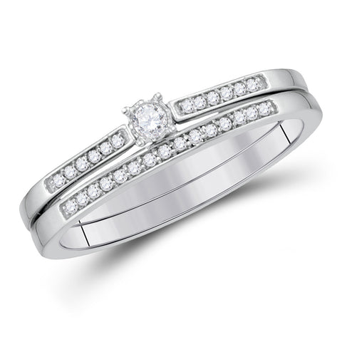 10kt White Gold Round Diamond Bridal Wedding Ring Band Set 1/8 Cttw