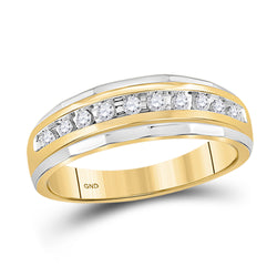 10kt Yellow Gold Mens Round Diamond 2-tone Wedding Anniversary Band Ring 1/4 Cttw
