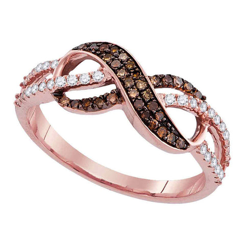 14kt Rose Gold Womens Round Brown Diamond Infinity Ring 1/3 Cttw