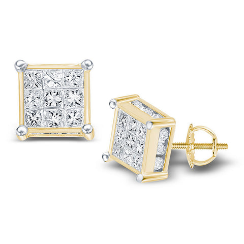 14kt Yellow Gold Womens Princess Diamond Cluster Stud Earrings 1 Cttw