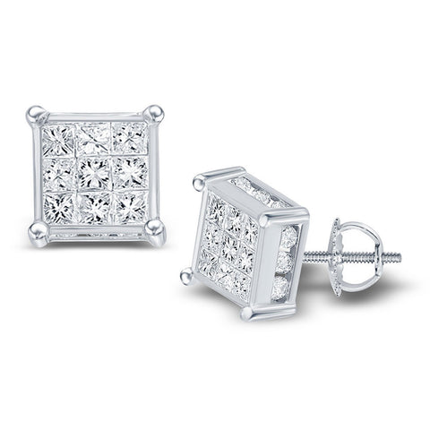 14kt White Gold Womens Princess Diamond Cluster Stud Earrings 1 Cttw