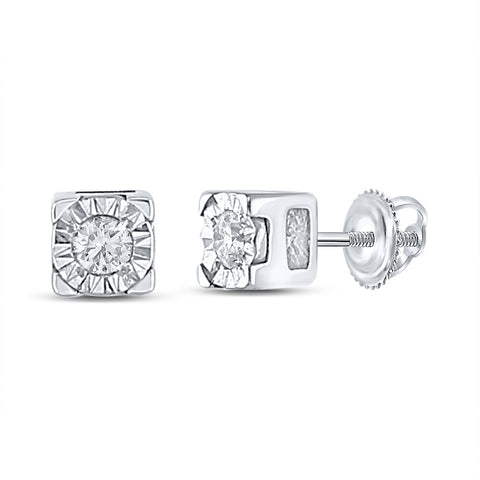 Sterling Silver Womens Round Diamond Solitaire Earrings 1/20 Cttw