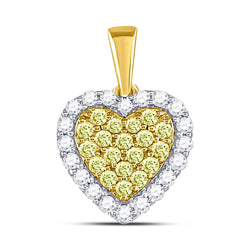 14kt Yellow Gold Womens Round Yellow Diamond Heart Frame Pendant 7/8 Cttw
