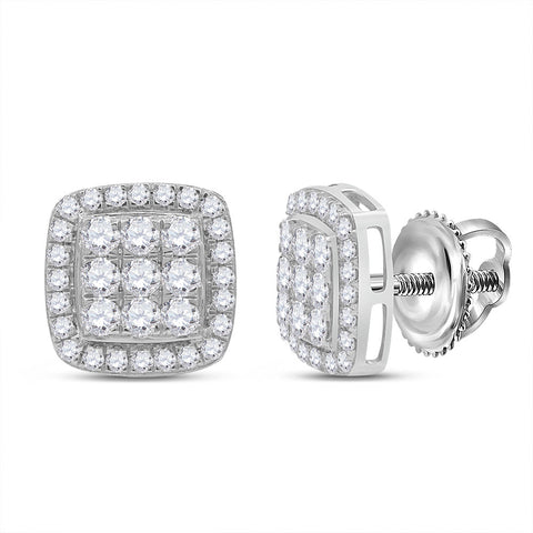 10kt White Gold Womens Round Diamond Square Earrings 1 Cttw