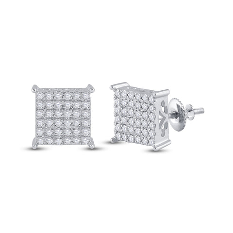 10kt White Gold Womens Round Diamond Square Earrings 1/2 Cttw