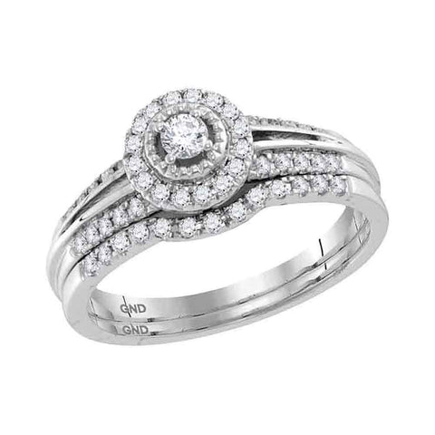 10kt White Gold Round Diamond Halo Bridal Wedding Ring Band Set 1/3 Cttw