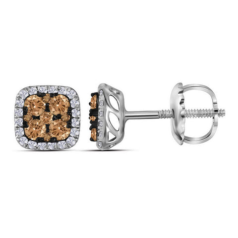 14kt White Gold Womens Round Brown Diamond Square Cluster Earrings 1/2 Cttw