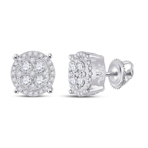 10kt White Gold Womens Round Diamond Cluster Earrings 1/2 Cttw