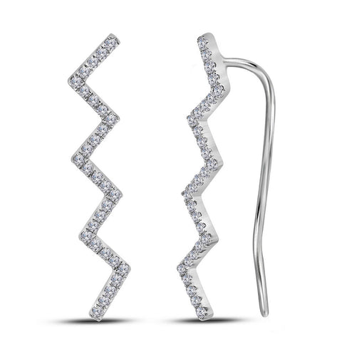 10kt White Gold Womens Round Diamond Zig Zag Climber Earrings 1/6 Cttw