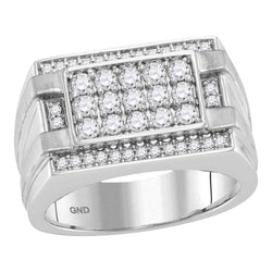 14kt White Gold Mens Round Diamond Square Cluster Ring 1 Cttw