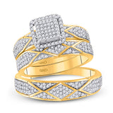 10kt Yellow Gold His Hers Round Diamond Cluster Matching Wedding Set 3/4 Cttw