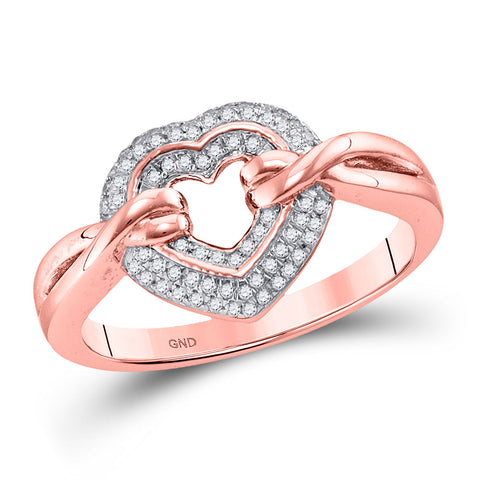 10kt Rose Gold Womens Round Diamond Heart Ring 1/5 Cttw