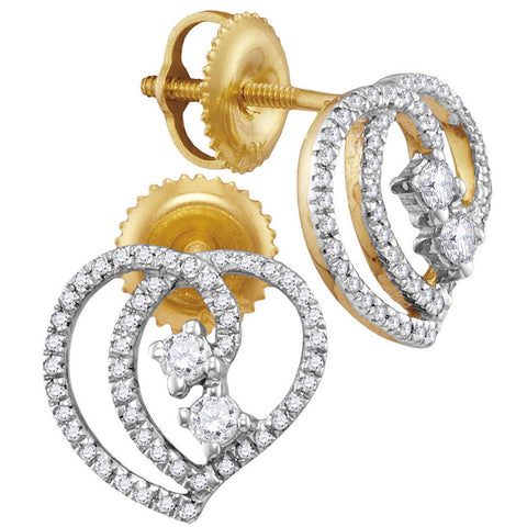 10kt Yellow Gold Womens Round Diamond 2-stone Earrings 1/4 Cttw