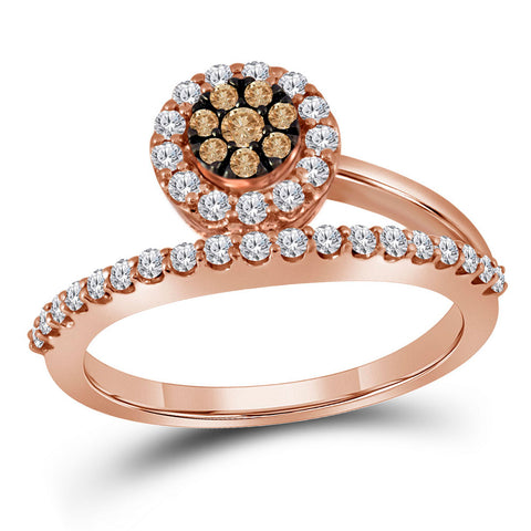 10kt Rose Gold Womens Round Brown Diamond Cluster Ring 1/2 Cttw