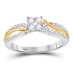10kt Two-tone Gold Womens Round Diamond Cluster Promise Ring 1/4 Cttw