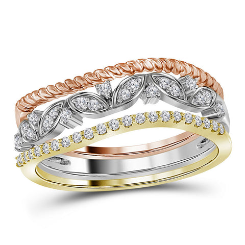 10kt Tri-Tone Gold Womens Round Diamond Stackable Rope Floral Band Ring 3-Piece Set 1/5 Cttw