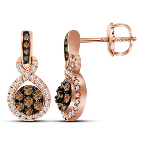 10kt Rose Gold Womens Round Brown Diamond Cluster Dangle Earrings 1/2 Cttw