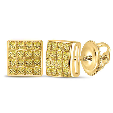 10kt Yellow Gold Womens Princess Yellow Color Enhanced Diamond Square Earrings 3/8 Cttw