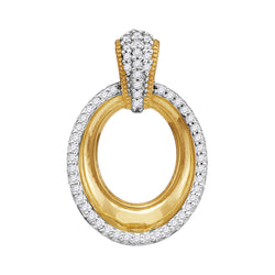 10kt Yellow Gold Womens Round Diamond Framed Outline Oval Pendant 1/6 Cttw