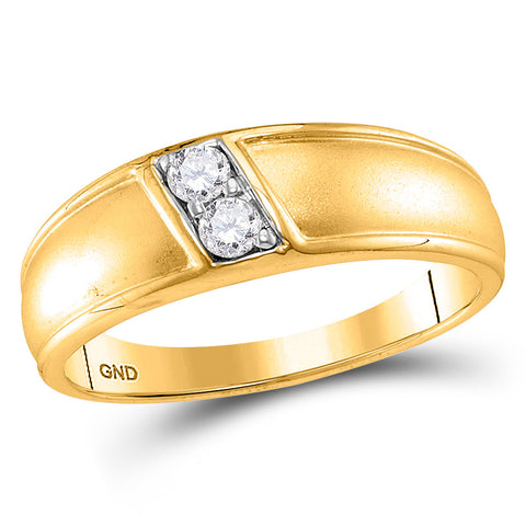 10kt Yellow Gold Womens Round Diamond Band Ring 1/5 Cttw