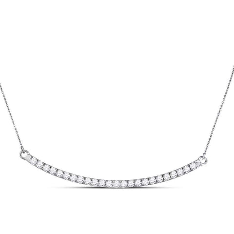 14kt White Gold Womens Round Diamond Curved Single Row Bar Necklace 1 Cttw