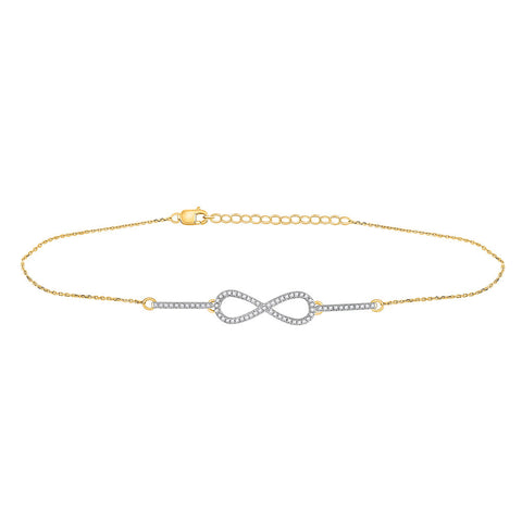 10kt Yellow Gold Womens Round Diamond Infinity Chain Bracelet 1/5 Cttw