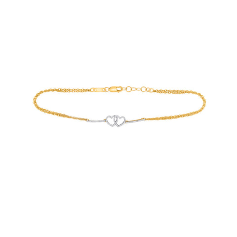 10kt Yellow Gold Womens Round Diamond Double Linked Heart Bracelet 1/5 Cttw