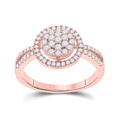 10kt Rose Gold Womens Round Diamond Circle Cluster Ring 1/2 Cttw