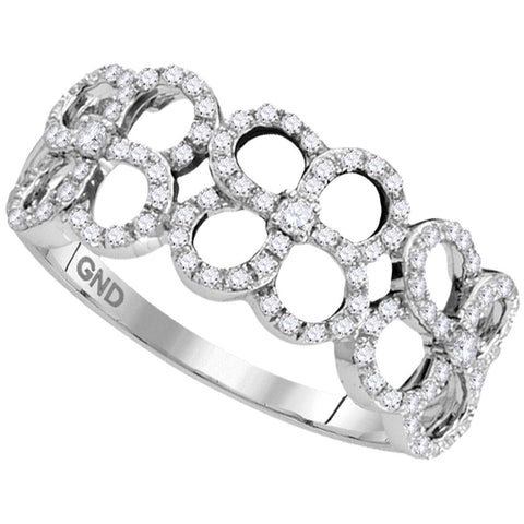 10kt White Gold Womens Round Diamond Quatrefoil Circle Band Ring 1/3 Cttw