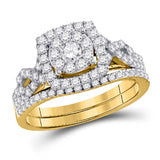 14kt Yellow Gold Round Diamond Bridal Wedding Ring Band Set 1 Cttw