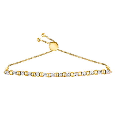 10kt Yellow Gold Womens Round Diamond Studded Bolo Bracelet 1/4 Cttw