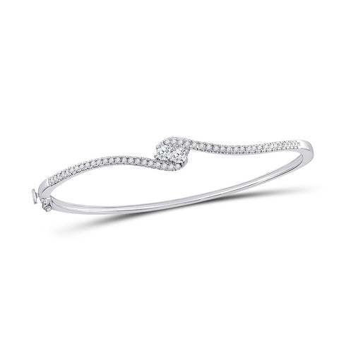 14kt White Gold Womens Round Diamond Bypass 2-stone Bracelet 3/4 Cttw