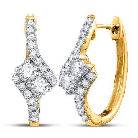 14kt Yellow Gold Womens Round Diamond Bypass 2-stone Earrings 1/2 Cttw