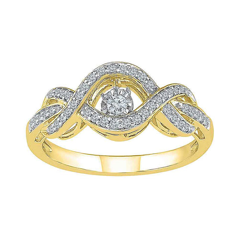 10kt Yellow Gold Womens Round Diamond Moving Twinkle Solitaire Ring 1/4 Cttw