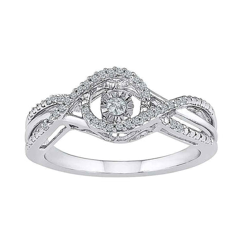 10kt White Gold Womens Round Diamond Moving Twinkle Solitaire Ring 1/6 Cttw