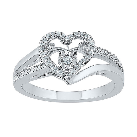 10kt White Gold Womens Round Diamond Heart Moving Twinkle Ring 1/10 Cttw