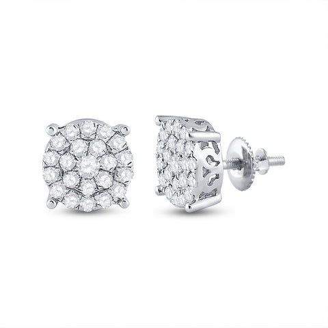 10kt White Gold Womens Round Diamond Cluster Earrings 1-1/2 Cttw