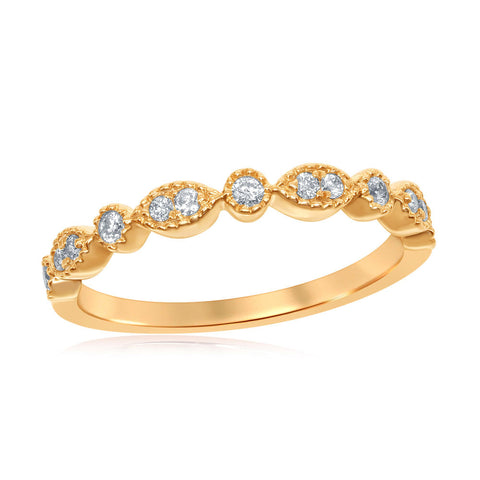 14kt Yellow Gold Womens Round Diamond Milgrain Stackable Band Ring 1/6 Cttw